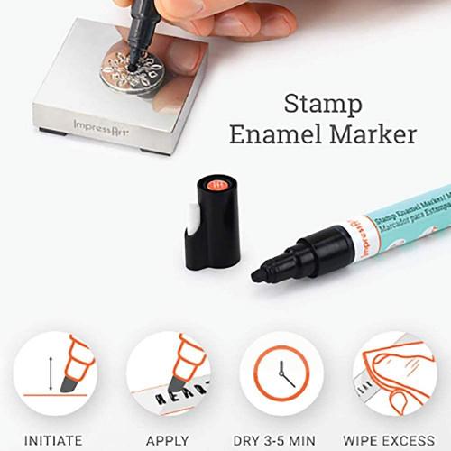 1 ImpressArt's Black Stamp Enamel Marker to Darken Stamped Designs