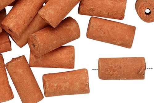 100 Ceramic Burnt Orange 12x6mm-15x7mm Tube Beads with 1.5-2mm Hole*