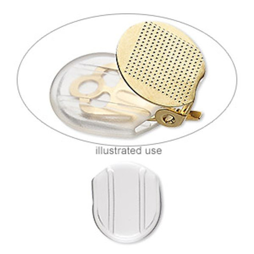 10 Clear Soft Plastic Clip On Earring 13.5x12mm Comfort Pads Clip-Slips