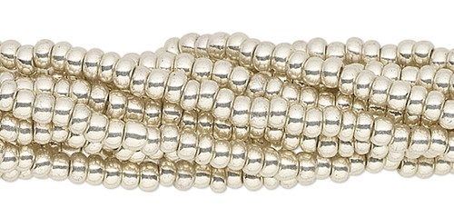 1 Hank Opaque Metallic Silver #11 Glass Seed Beads  Approximately  4000