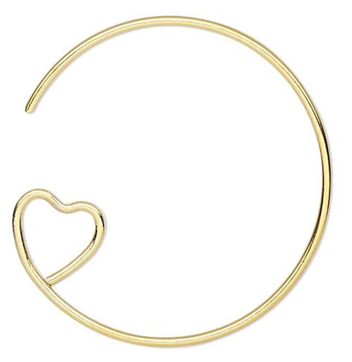 10 Gold Plated Brass 23mm Hoop 19 Gauge Earwires with Heart Loop Earrings
