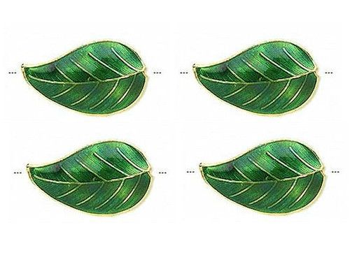 4 Gold Plated Green Cloisonné 27x16mm Double Sided Leaf Beads