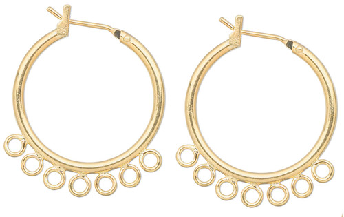 10 Gold Plated Brass 23mm Hoop Latch Back Earrings with 7 Loops