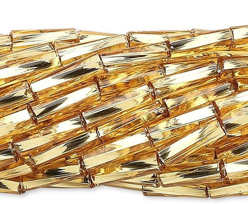 "1 Hank Metallic Gold Glass #3 Twisted Tube Bugle Beads  1/4"" Long"