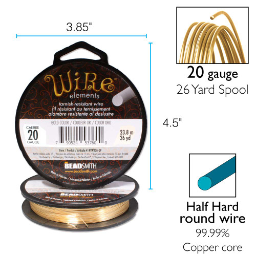 26 Yard Spool BeadSmith Tarnish Resistant Gold 20 Gauge Wrapping Wire