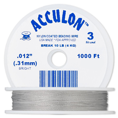 1000 Foot Spool Acculon 3 Strand Clear 0.012-Inch Diameter Tiger Tail Beading Wire