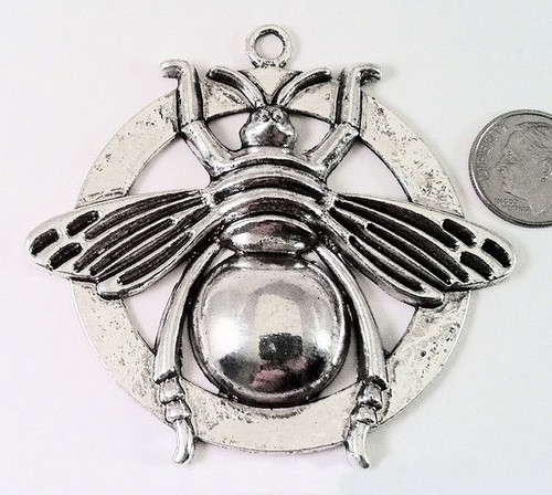 1 Antiqued Silver Pewter 70x62mm Large Bee Pendant Focal  *