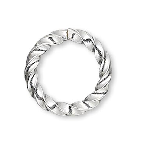 100 Silver Plated Brass 16 Gauge 8mm Twisted Round Jump Rings with  5.8mm ID