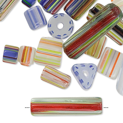 1 Ounce Package Cane Glass Bead Mix  ~ 5x4mm-25x4mm  *