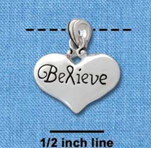 """1 Silver Plated Pewter """" BELIEVE """"  Word Heart Charm with Bail ~ 3/4 Inch"""