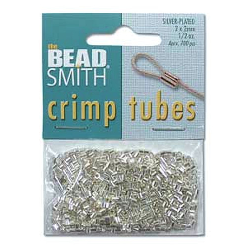 (1/2 Oz) Approximately 400 Silver Plated 2x2mm Crimp Tube Crimping Beads