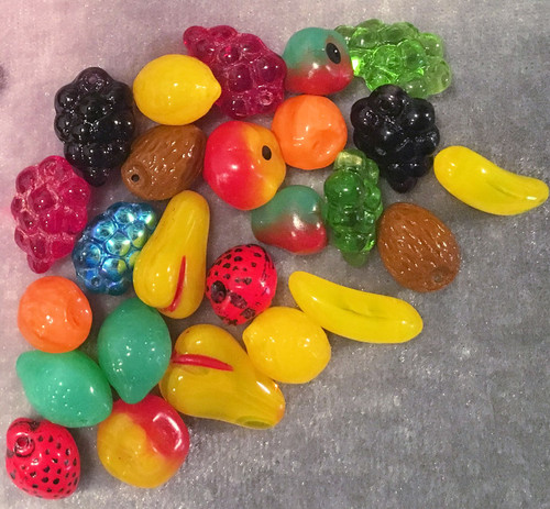 25 Glass Fruit Bead Mix of Banana Grape Pear Strawberry Lime Lemon & More