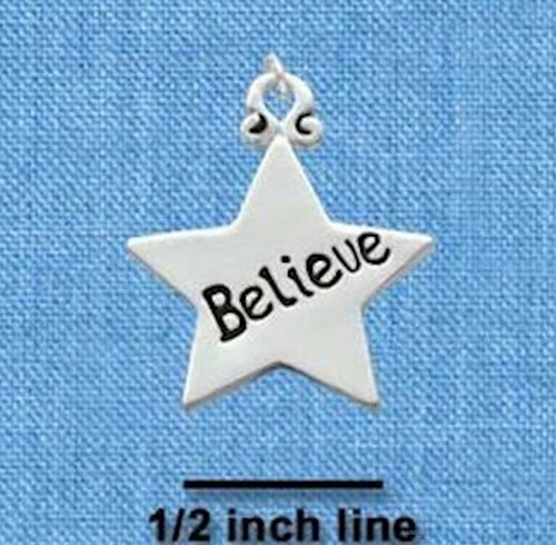 """1 Silver Plated Pewter """" BELIEVE """"  Word Star Charm ~  3/4 Inch"""