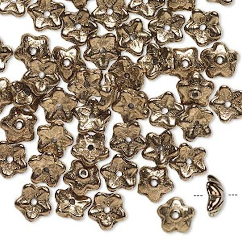 50 Czech Glass Opaque Bronze 8x3mm Flower Bead Caps to Fit 6-8mm Beads  *