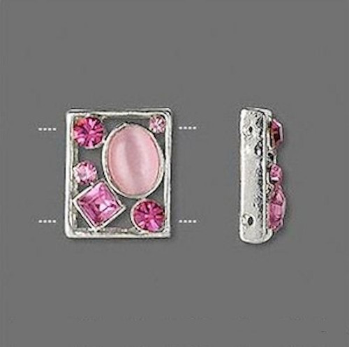 2 Silver Plated Pewter Spacer Bar Slider Links with Lilac Czech Glass Rhinestones
