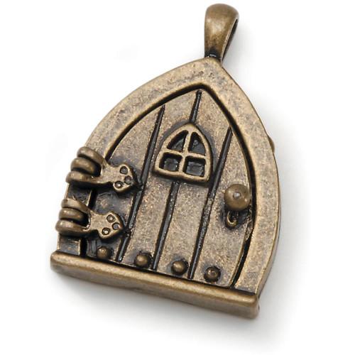 1 Antiqued Brass Fairy Door Charm for Wishes  ~ Door Opens