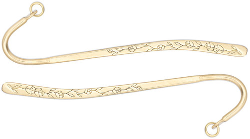 "2 Gold Brass 5"" Long Bookmarks  with Double Sided Engraved Flowers"