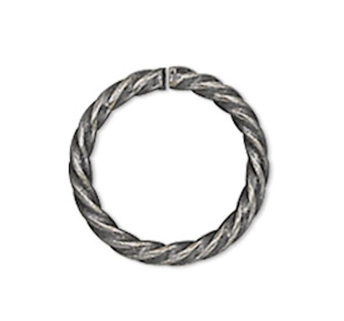 100 Antiqued Silver Plated 6mm Twisted Round 20 Gauge Jump Rings with 4mm ID