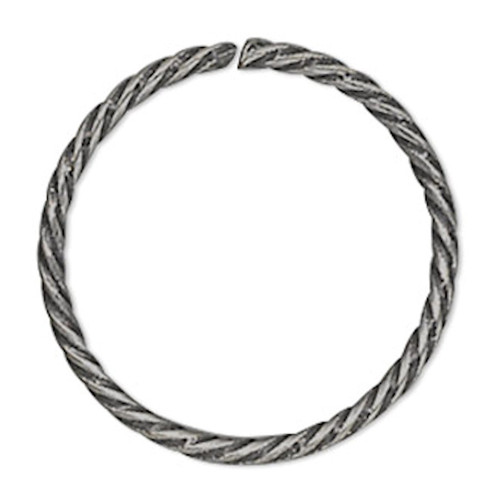 100 Antiqued Silver Plated 10mm Twisted Round 21 Gauge Jump Rings with 8.4mm ID
