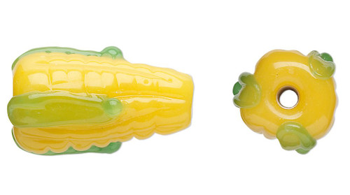 6 Lampwork Glass 19x10mm Yellow & Green Corn on the Cob Beads *