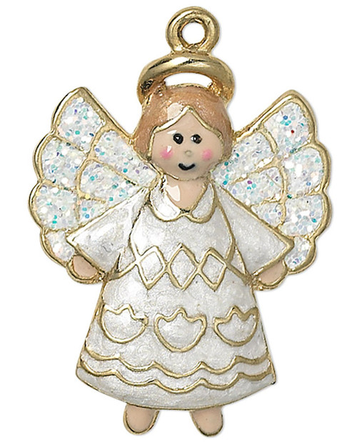 1 Gold Plated Pewter 23x18mm White Sparkling Angel Charm