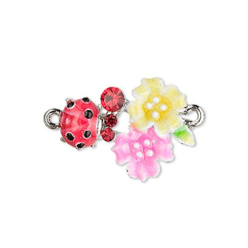2 Ladybug Flower Leaves IR Plated Connector with Crystals  ~ 23x19mm *