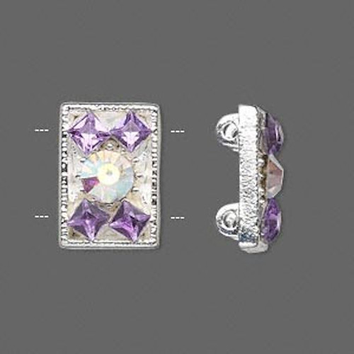 2 Silver Plated Pewter Light Purple Rhinestone Spacer Slider Links ~ 18x12mm  *