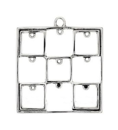 1 Antiqued Silver Pewter Large Square Pendant Focal ~ 47x46mm with 9 Loops  *