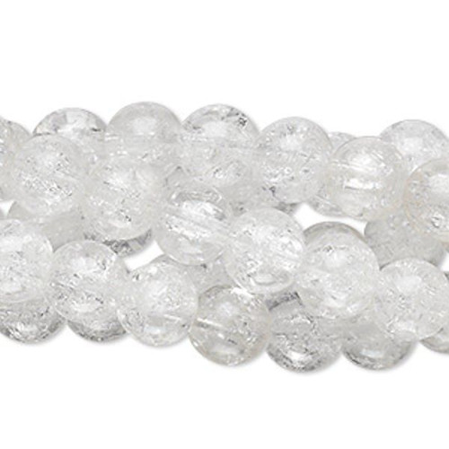1 Strand Clear 9-10mm Round Crackle Glass Beads  *