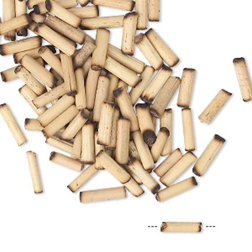 100 Small Tan Bamboo Wood 7x2mm-9x3mm Round Tube Beads