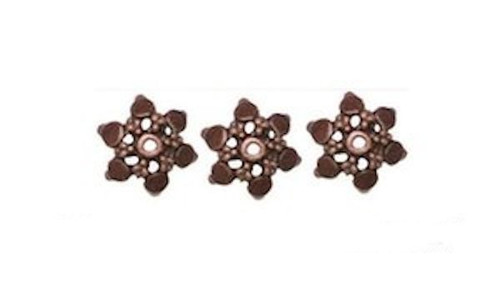60 Antiqued Copper Plated Brass 12mm Flower Bead Caps to Fit 10-16mm Beads *