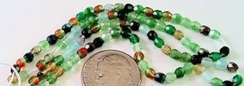 100 Czech Fire Polished Enchanted Forest Green Mix 3mm Glass Beads *
