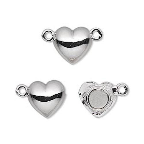 1 Rhodium Plated Pewter 12x12mm Smooth Magnetic Heart Clasp
