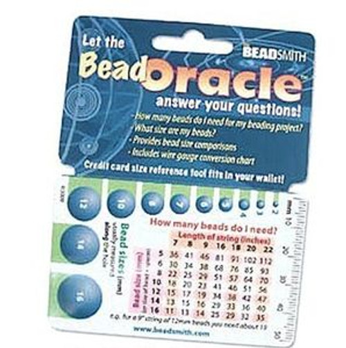 1 Oracle Wallet Beading Reference Card with Bead Charts & Sizes