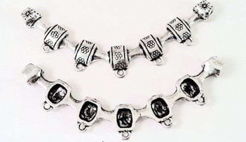 """1 Antiqued Silver Plated Pewter Long Connectors ~ 3"""" x 1/2""""  *"""
