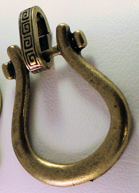 2 Antiqued Gold Hinged Horse Shoe Bails ~ Charm, ID Badge, Eyeglass Holders *
