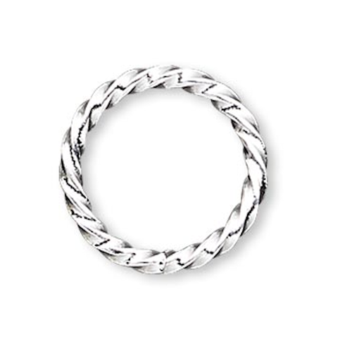 100 Silver Plated  Brass 20 Gauge Fancy Twisted 8mm Jump Rings with 6.7mm ID