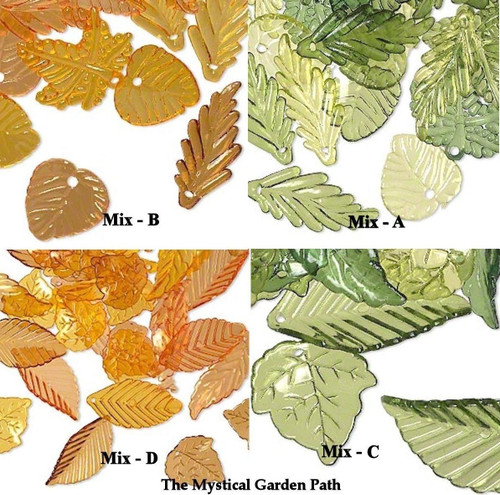 1/8 LB Assorted Acrylic Leaf Charms Mixes of Green Or Autumn Yellow Orange Brown