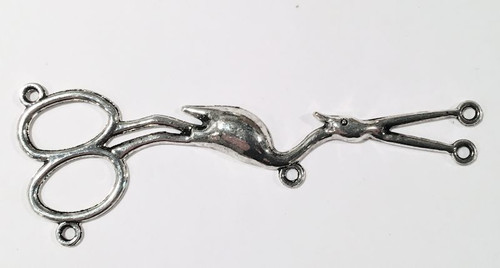1 Antiqued Silver Pewter Stork Scissors Link Connector  ~ 30x82mm *