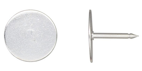 10 OR 100 Silver Plated Brass 12mm Flat Round Pad Tie Tacs  Make Anything a Tie Tac