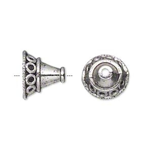 10 Antiqued Silver Plated Pewter Cone Bead Caps  ~ 14x12mm ~ 10mm Inside