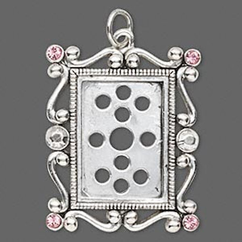 1 Antiqued Silver Plated Pewter Photo Frame with Swarovski Rose Crystals *
