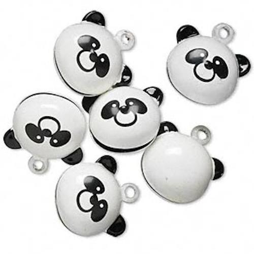 6 Adorable Panda Bear Bell Charms ~  20x15mm Black white