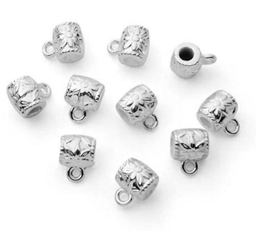 21 Silver Metal Flower Slider Bails  ~ 6.5x7mm Connectors *