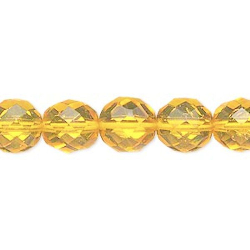 1 Strand Czech Fire Polished Glass Golden Yellow Faceted Round Beads ~ 10mm  *