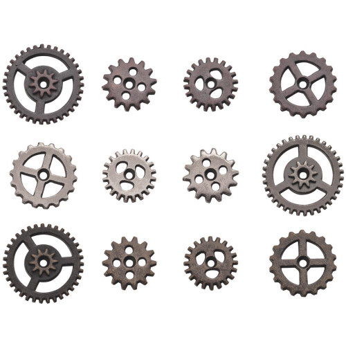12 MINI Antiqued Silver Gold Copper Sprocket Gear Charms by Tim Holtz
