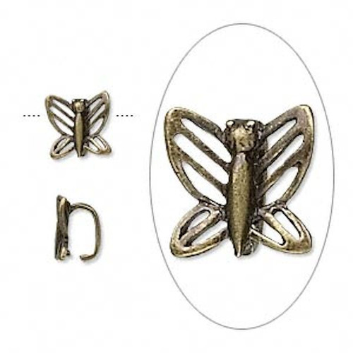 10 Antiqued Brass Finished Pewter Butterfly Bails   ~ 8x7x5mm  *
