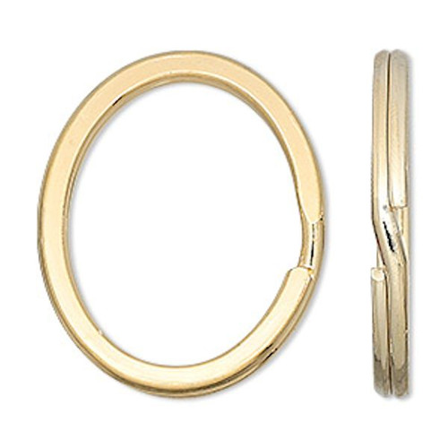 10 Gold Finished Steel 34x28mm Flat OVAL Split Rings ~ Key Rings