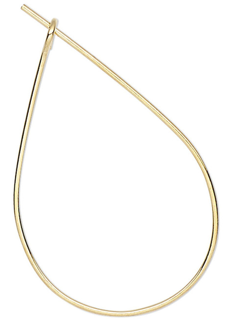 100 Gold Plated Brass 23 Gauge 27x17mm Teardrop Hoop Earwires Earrings
