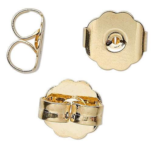 10 Gold Plated Brass 10x9x5mm Monster Earnut Earring Backs
